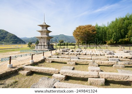 foundation stones of Gameunsa Temple built in Silla Era. - stock photo