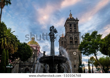 Fountain and Puebla Cathedral  - Puebla, Mexico