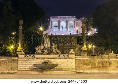 fountain and Steps lead from the Piazza del Popolo to the Pincian Hill in evening, Rome