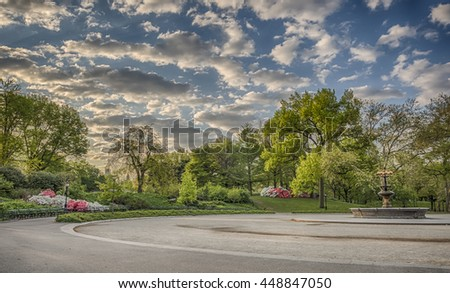 Fountain at Cherry hill in summer Central Park, New York City - stock photo