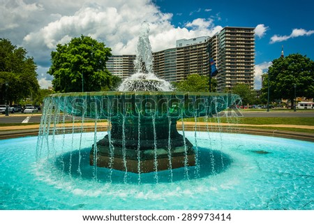 Fountain at Eakins Oval in Philadelphia, Pennsylvania. - stock photo