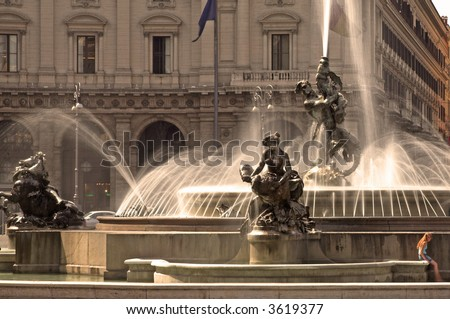 Fountain At Piazza Della Repubblica, Rome, Italy - stock photo