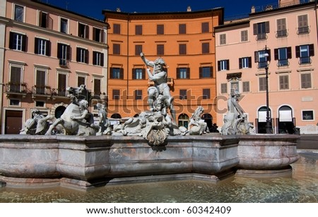 Fountain at Piazza Navona - Navona square in Rome, Italy - stock photo