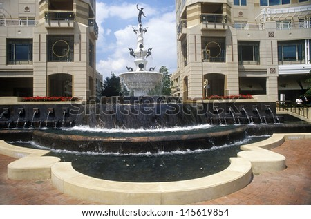 Fountain at Reston town center, Potomac region, VA - stock photo