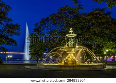Fountain at the English garden by night in Geneva, Switzerland, HDR - stock photo