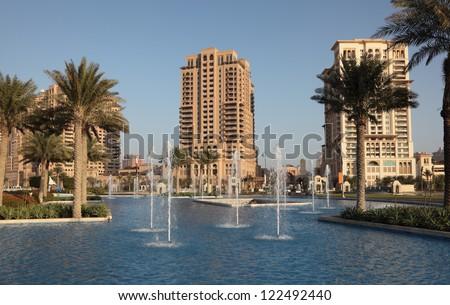 Fountain at The Pearl, Porto Arabia, Doha Qatar - stock photo