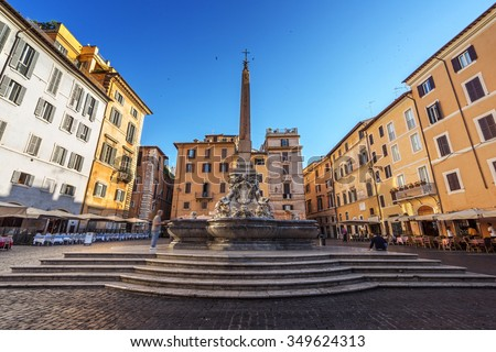 fountain, close to Panteon, in Rome, Italy