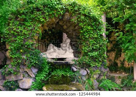 Fountain Egerii, Park labyrinth in Barcelona Spain, Catalonia. - stock photo