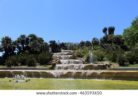 Fountain in Barcelona on Montjuic hill