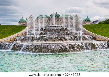 Fountain in Belvedere Park in Vienna, Austria - stock photo