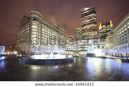 fountain in december at canary warth - stock photo