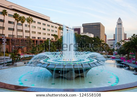 Fountain in downtown Los Angeles - stock photo