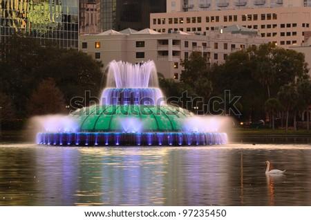 Fountain in Eola Lake in Orlando, Florida - stock photo