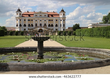 Fountain in french garden, Milotice castle, Czech republic