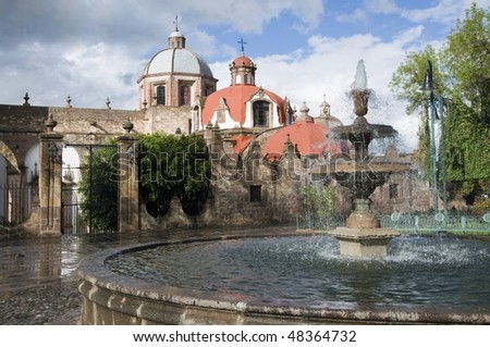 Fountain in front of a church in Morelia, Mexico