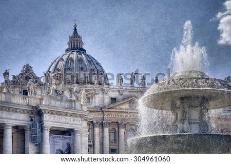 Fountain in Front of the Vatican, Vatican City, Rome Italy - stock photo