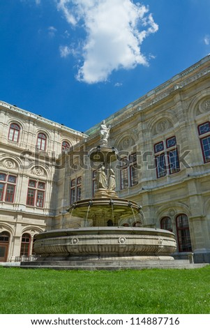 Fountain in front of the Vienna Opera House, Austria