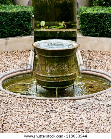 fountain in garden - stock photo