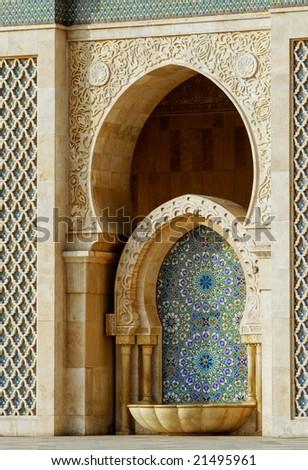 Fountain in Hassan II mosque, Casablanca, Morocco - stock photo