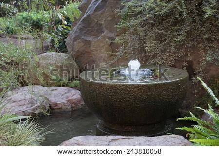 Fountain in Japanese garden in Monte Carlo, Monaco - stock photo