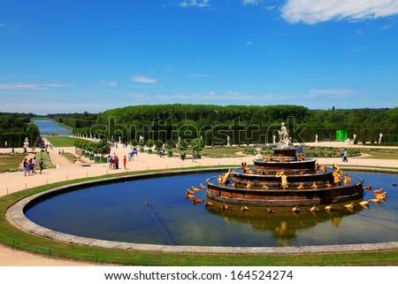 Fountain in Palace of Versailles - stock photo