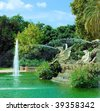 fountain in park De la Ciutadella in barcelona, catalonia, spain - stock photo