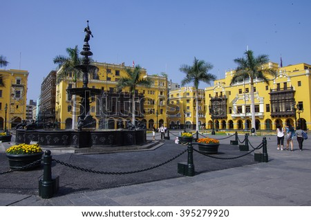 Fountain in Plaza Mayor (formerly, Plaza de Armas) in Lima, Peru in sunny day. - stock photo