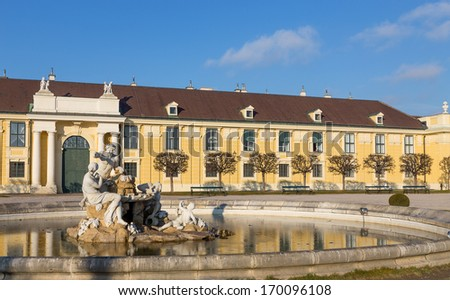Fountain in Schonbrunn palace courtyard, Vienna, Austria - stock photo