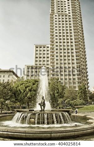 Fountain in square Spain in Madrid, Spain - stock photo