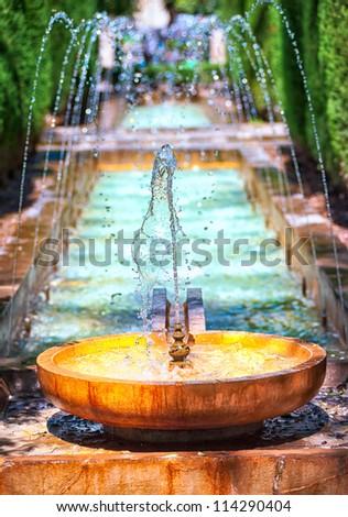 Fountain in the garden of Palma de Majorca, Spain - stock photo