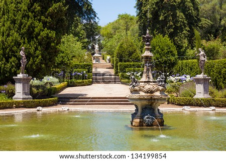 Fountain in the gardens of Queluz National Palace, in the municipality of Sintra, Lisbon district, Portugal - stock photo