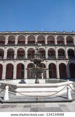 Fountain in the Palacio Nacional in Mexico City - stock photo