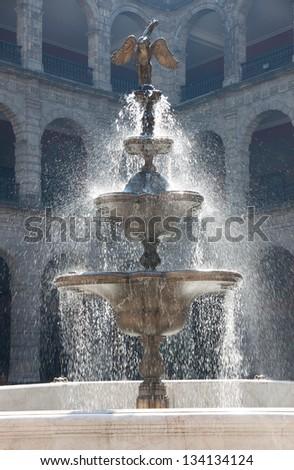 Fountain in the Palacio Nacional in Mexico City, Mexico - stock photo