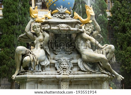 """Fountain is """"Goddess of night"""" in  Gurzuf, Crimea . A fountain was built in 1889 . - stock photo"""