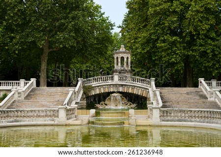 Fountain of Darcy park in Dijon , France - stock photo