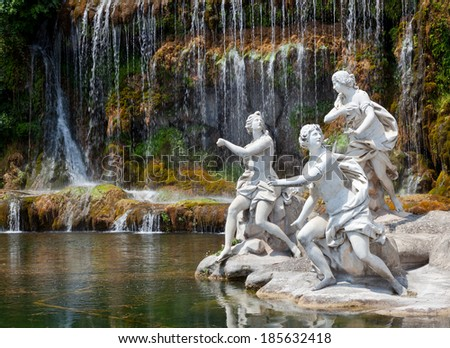 Fountain of Diana and Actaeon and The Big Waterfal. Mythological statues of nymphs in the garden Royal Palace in Caserta. - stock photo