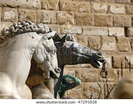 Fountain of Neptune by Bartolomeo Ammannati, in the Piazza della Signoria, Florence, Italy - stock photo