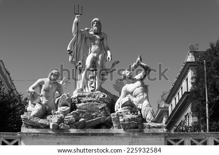 Fountain of Neptune is located in Piazza del Popolo in Rome. It was constructed in the 1822-23 at the terminus of a newly built aqueduct. It shows Neptune with his Trident, accompanied by two Tritons - stock photo