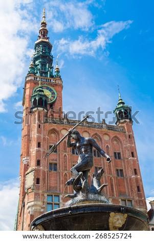 Fountain of Neptune on the Dlugi Targ Street in Gdansk, Poland - stock photo