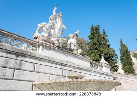 Fountain of Neptune, Piazza del Popolo, Rome, Italy - stock photo
