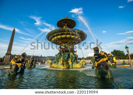 Fountain of River Commerce and Navigation at the Place de la Concorde with beautiful clouds, Paris, France