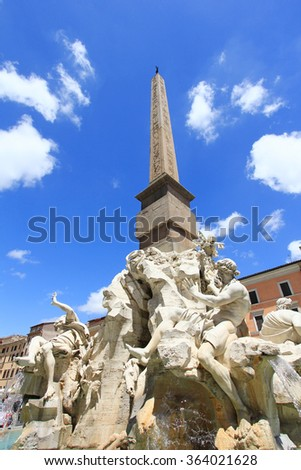 Fountain of the Four Rivers. Piazza Navona in Rome Italy - stock photo