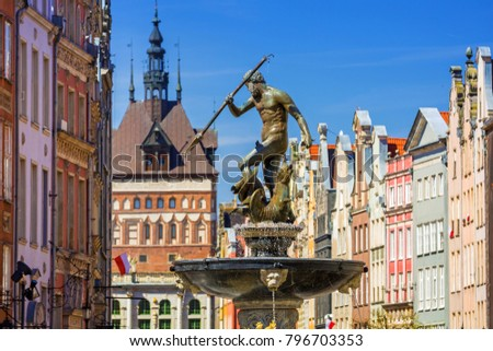 Fountain of the Neptune in old town of Gdansk, Poland