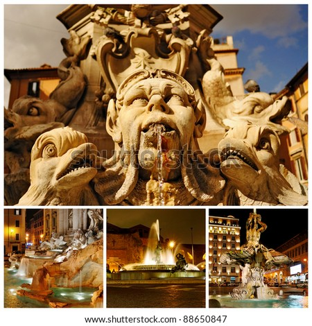 Fountain of the Pantheon, Trevi fountain, Fountain of the Naiads, Fountain of the Triton in Rome, Italy. Collage.