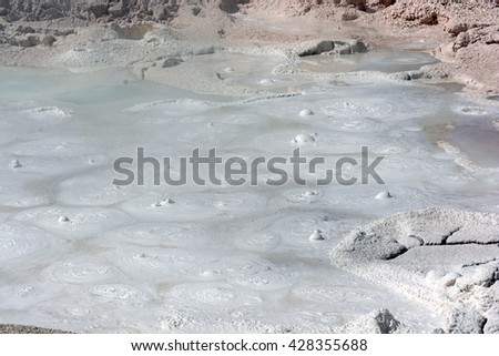 Fountain Paint Pots in the Lower Geyser Basin of Yellowstone National Park in Wyoming - stock photo