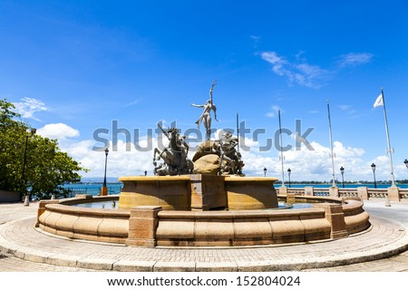 "Fountain ""Paseo de la Princesa"" in old San Juan, Puerto Rico.  - stock photo"