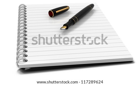 Fountain pen and note book on white background