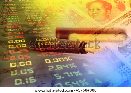 Fountain pen, forex trading panel and portraits / images of famous leaders on notes, money of the most dominant countries in the world i.e. Japanese yen, US dollar, Chinese yuan, Australian dollar. - stock photo