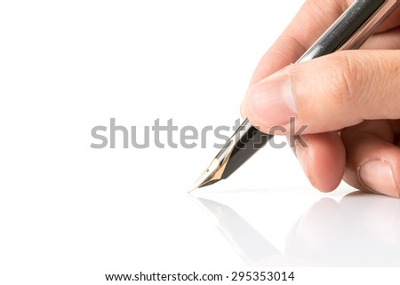 Fountain pen isolated on white background. - stock photo