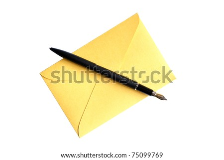 Fountain pen lying on yellow envelope. Isolated on white with clipping path - stock photo